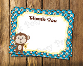 Monkey Flat Thank You Note Cards