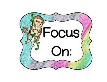 Monkey Focus Wall and Subject Card Set