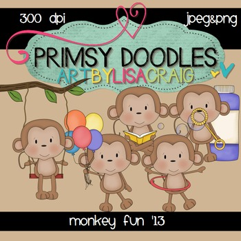 Monkey Fun 300 dpi clipart