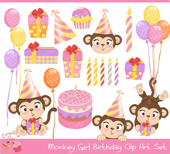 Monkey Girl Birthday Clipart Set
