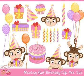 Monkey Girl Birthday Clipart Set