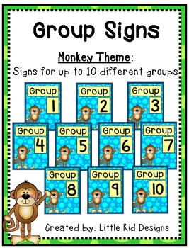 Monkey Group Signs - Table Group Signs