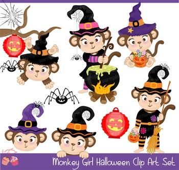 Monkey Witches Witch Halloween Clipart Set