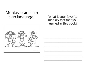 Monkey Informational Text for First Grade