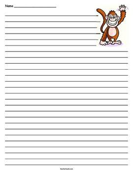 Monkey Lined Paper