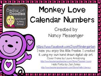 Monkey Love (February) Calendar Numbers ABCC Pattern