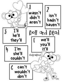 Monkey Love Roll and Read contractions 'm, 'll, n't