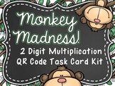 Monkey Madness! 2 Digit Multiplication QR Code Task Card Kit