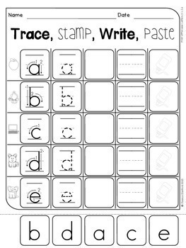 Capital Letters, Lowercase Letters, Numbers - Trace, Stamp, Write, Paste