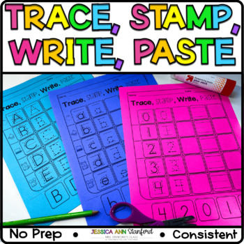 Capital Letters, Lowercase Letters, Numbers Bundle - Trace, Stamp, Write, Paste