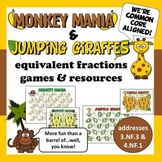 Monkey Mania & Jumping Giraffes – equivalent fraction games & resources