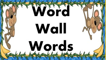 Monkey Mania Word Wall Words and Headers