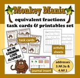 Monkey Mania – equivalent fractions task cards – aligned withCommon Core Math