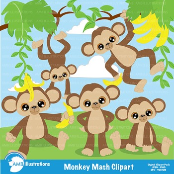 Monkey Clipart, Jungle Clipart, Animal Clip Art - AMB-275