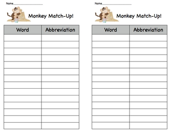 Monkey Match Abbreviation Literacy Center