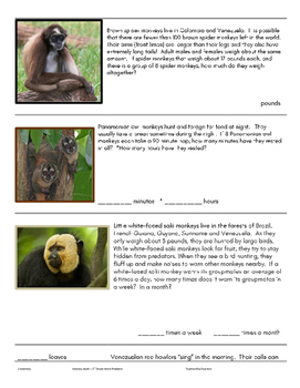 Monkey Math 3rd Grade Word Problems