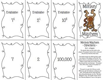 Monkey Mayhem Card Game: Evaluate Exponents