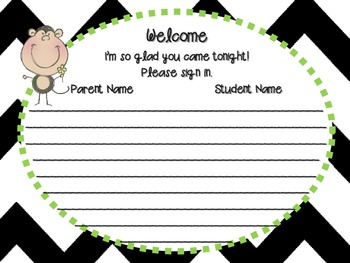 Monkey Meet the Teacher or Back to School Night Signs
