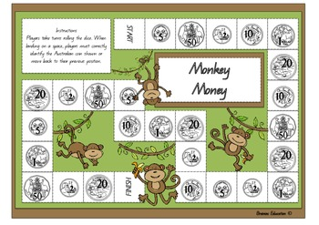 Monkey Money Board Game - Australian Currency