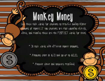 Monkey Money Task Cards