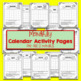 Monthly Calendar Worksheets for First and Second Grade