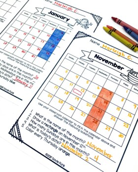 Monthly Calendar Worksheets for First and Second Grade by Dovie Funk