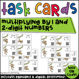 Monkey Multiplication QR Code Task Cards (Multiplying by 1 and 2 Digit Numbers)