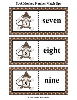 Sock Monkey Number Match Ups