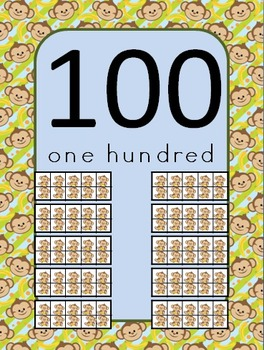 Monkey Number Posters (0 to 100) with Ten Frames