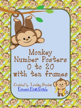 Monkey Number Posters (0 to 20) with Ten Frames