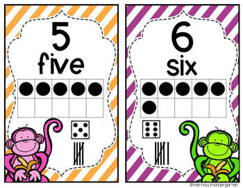 Monkey Number Posters (1-20 bright colors)