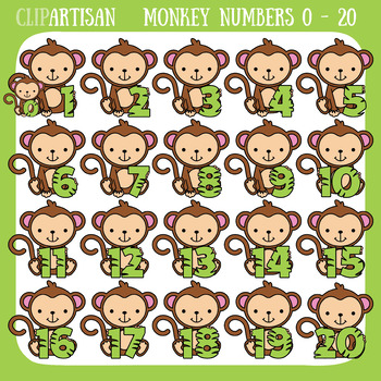 Monkey Numbers 0 to 20 Clipart