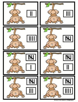 Monkey Numbers (numbers, ten frame, number words, tally marks)