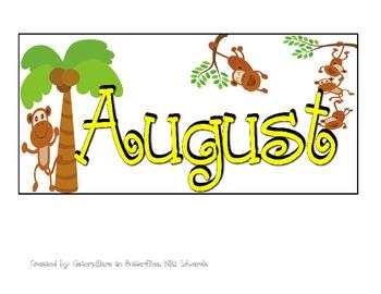 Monkey PATTERN Calendar-- August & September Calendar Pieces
