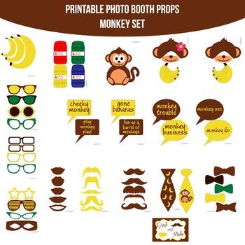 Monkey Printable Photo Booth Prop Set