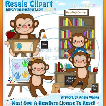 Monkey School Boys ClipArt - Commercial Use