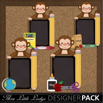 Monkey School Chalkboards Boy ClipArt