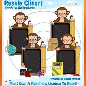 Monkey School Chalkboards Boy ClipArt - Commercial Use