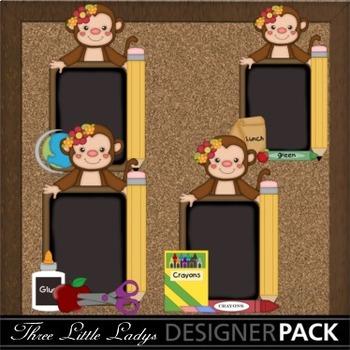 Monkey School Chalkboards Girl ClipArt