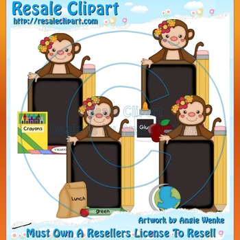 Monkey School Chalkboards Girl ClipArt - Commercial Use