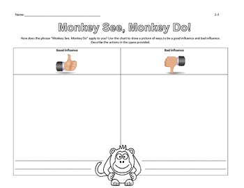 """""""Monkey See, Monkey Do!"""" A Look at Peer Pressure and Influence (lesson)"""