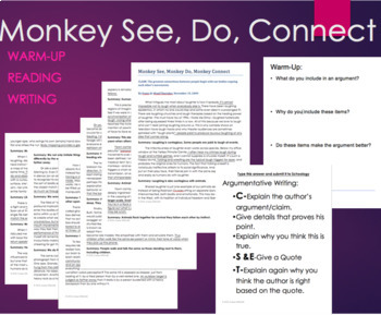 Monkey See, Monkey Do, Monkey Connect Text and CSET Writing Assignment