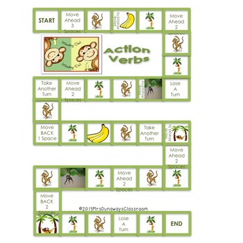 Monkey See, Monkey Do:  a file folder game of action verbs