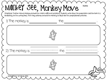 Monkey See, Monkey Move [A Preposition Activity and Worksheet]