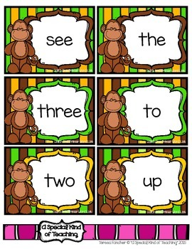 Monkey See. . . Monkey Read {A Sight Word Reading Fluency Reinforcement Game}