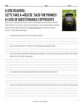 Monkey #Selfie Close Reading Activity CCSS Aligned