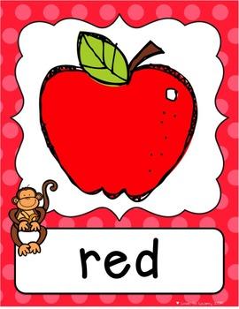 Monkey Shape & Color Posters - Polka Dot