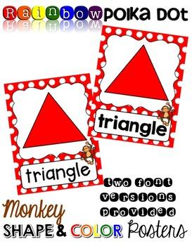 Monkey Shape & Color Posters - Rainbow Polka Dot