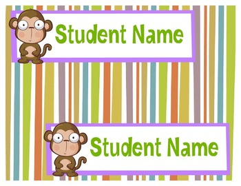 Monkey Student Desk Name Tags