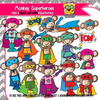 Monkey Superheroes Commercial Use Clipart